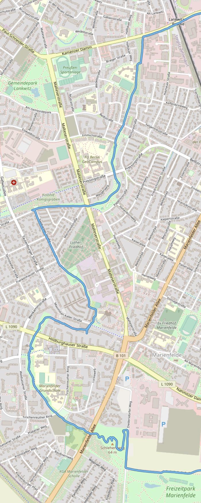 Streckenkarte (Detail) mit Verlauf des Laufs