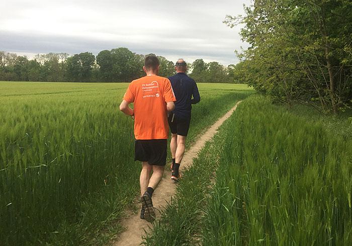 Zwei Läufer auf einem Pfad entlang eines grünen Feldes