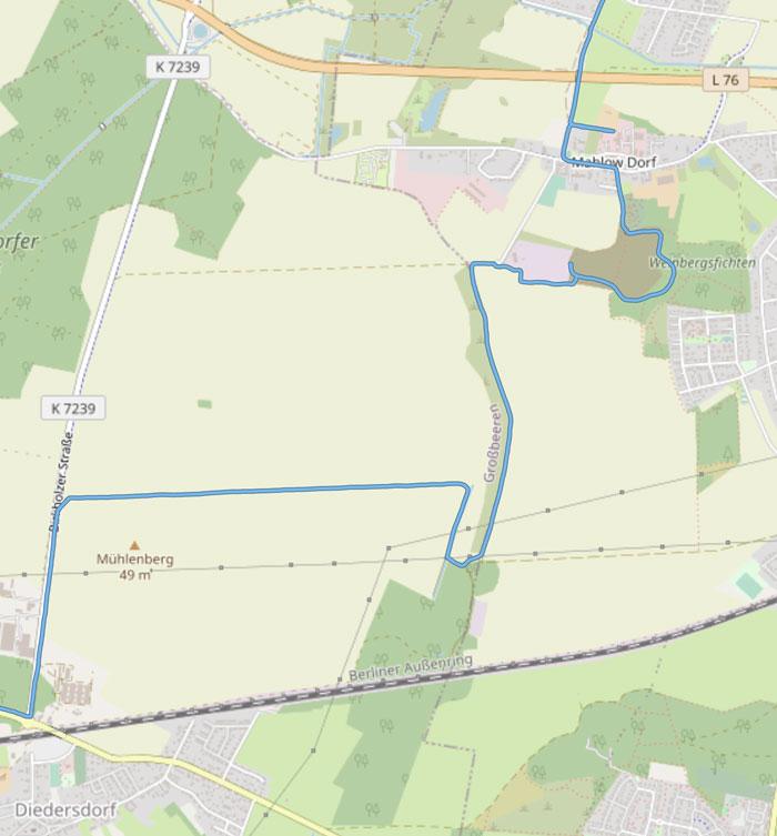 Kartendetail Diedersdorf, Mühlenberg, Weinbergsfichten, Mahlow Dorf