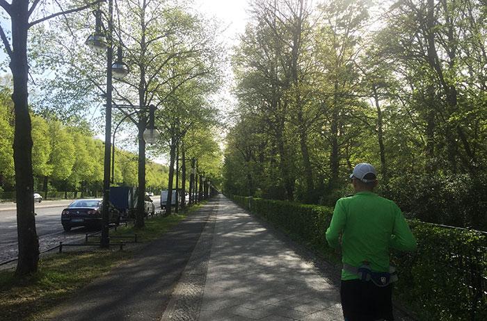 Läufer auf Fußweg am Tiergarten