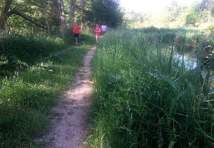 Läuferin und Läufer am Mahlower Seegraben