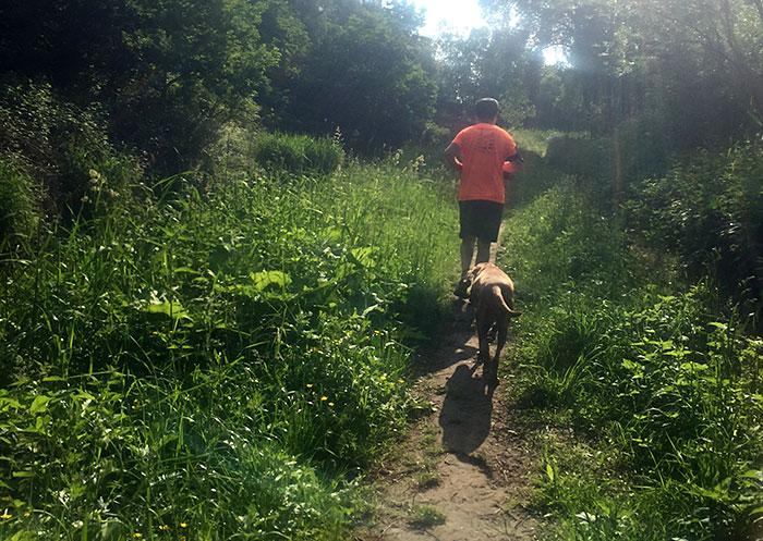 Läufer mit hund am Mahlower Seegraben