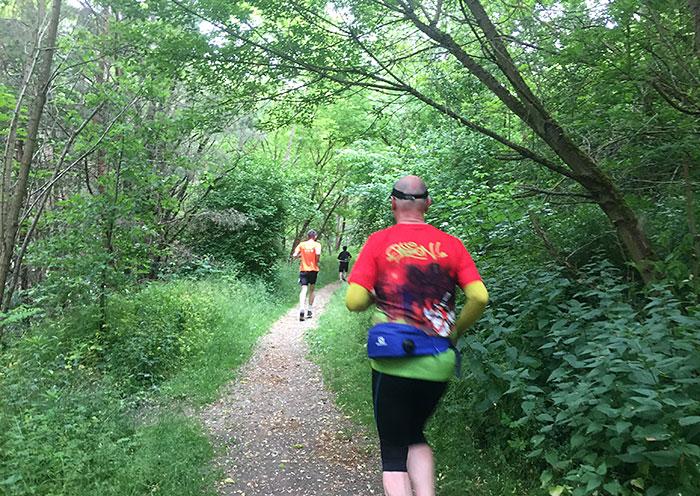Läufer im kleinen Waldgebiet Weinbergsfichten