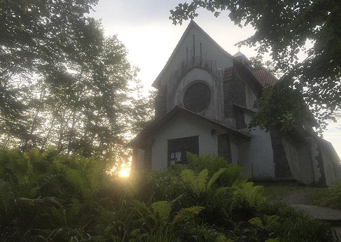 Kirche im Gegenlicht der Morgensonne, im Vordergrund Gebüsche aus Farn