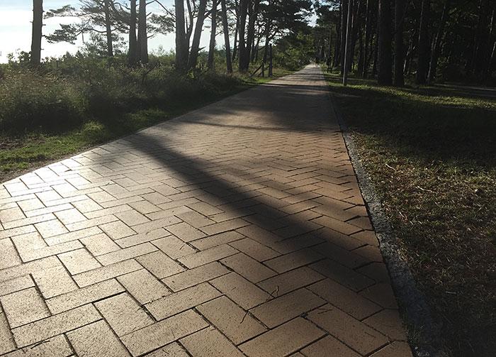 Von der Sonne beschienene Pflasterung der Bernsteinpromenade bei Göhren