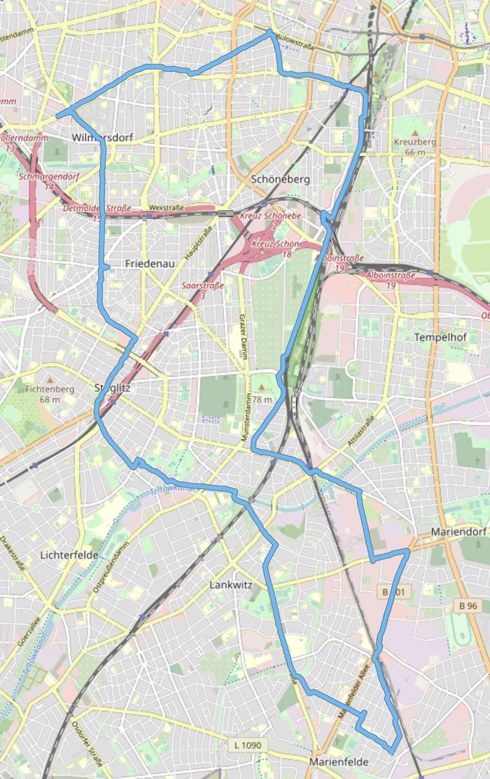 Streckenplan des Laufs zum Berlin-Marathon 2021: Von Marienfelde über Lankwitz, Steglitz und Friedenau bis nach Wilmersdorf, von dort im Bogen wieder nach Süden durch Schöneberg, Tempelhof, Mariendorf bis nach Marienfelde